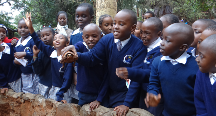 Primary students exploring their inquisitive nature during a school field trip at the Nairobi National Park
